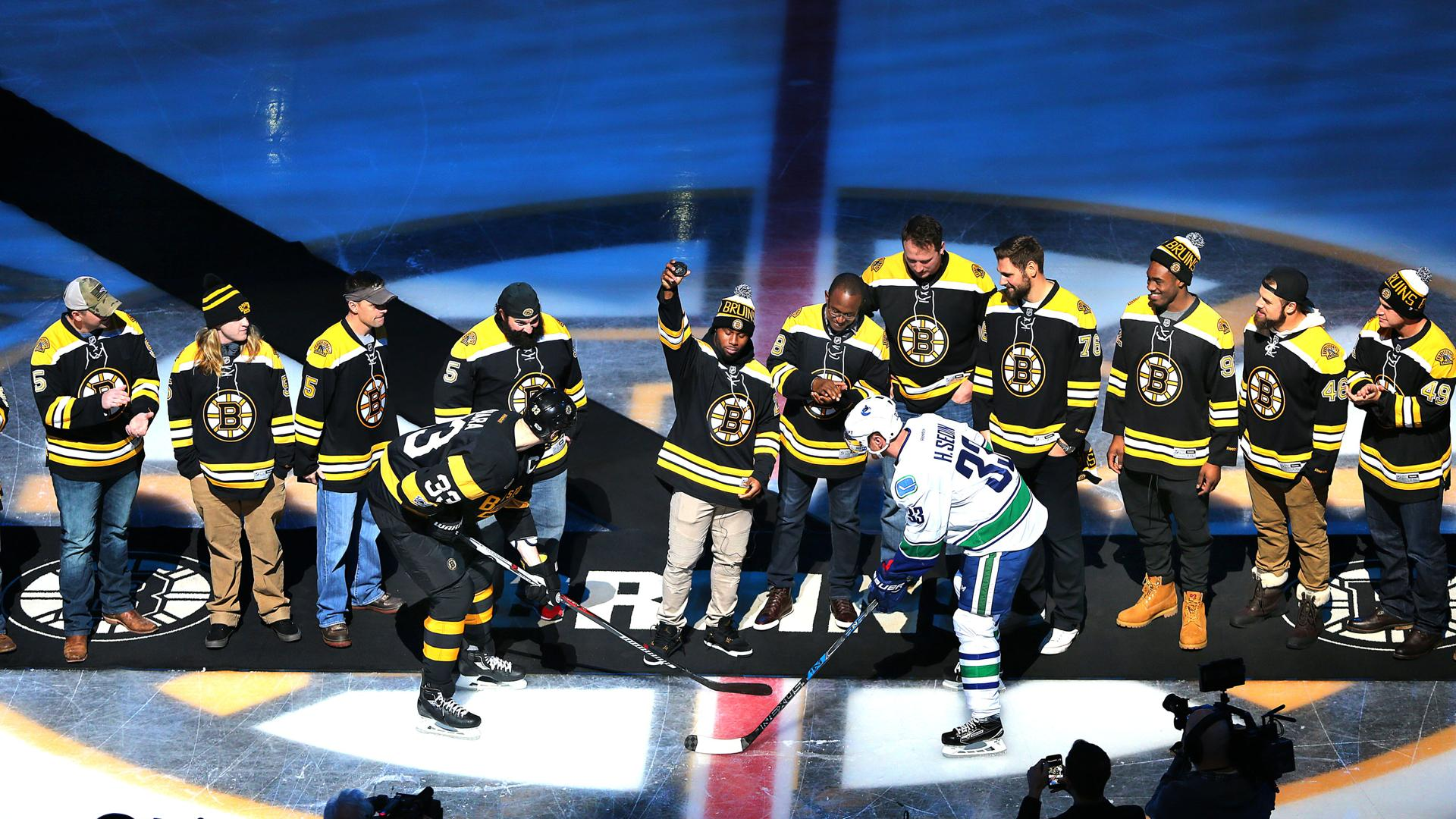 JAMES WHITE, PATRIOTS HONORED BEFORE BRUINS GAME