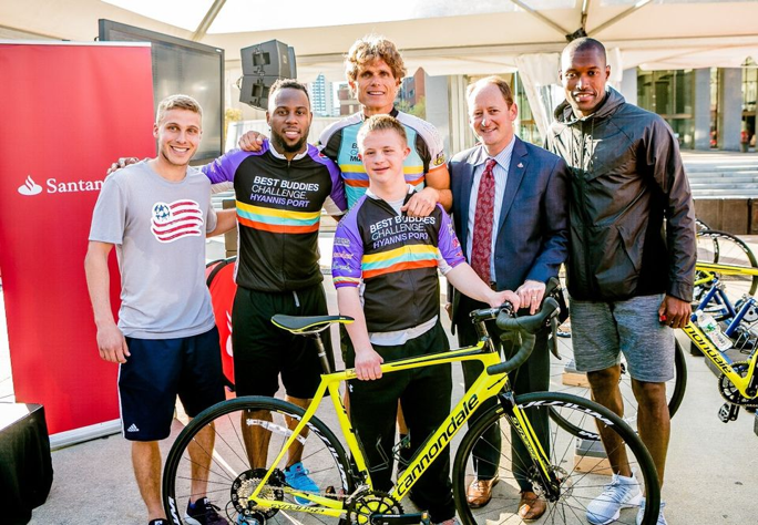 PATRIOTS RB JAMES WHITE, BOSTON NEWSCASTERS TAKE PART IN OUTDOOR CYCLING CHALLENGE AT CITY HALL