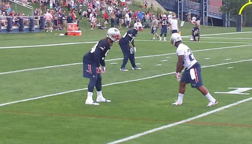 IN FIRST PATRIOTS TRAINING CAMP PRACTICE, JAMES WHITE SHOWS HE CAN DO A LITTLE BIT OF EVERYTHING