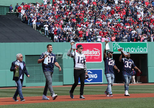SUPER BOWL CHAMPION NEW ENGLAND PATRIOTS HONORED ON BOSTON RED SOX' OPENING DAY