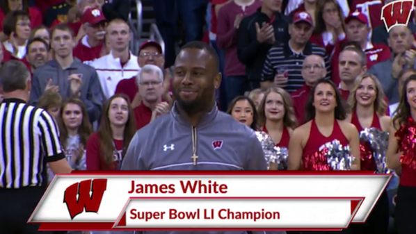 JAMES WHITE HONORED AT WISCONSIN BASKETBALL GAME